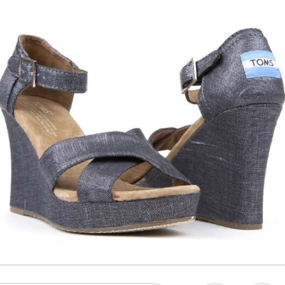 Toms Shoes - TOMS Metallic Denim Cork Wedge Ankle Strap Sandals